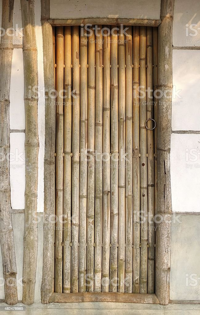 Traditional Chinese House with Bamboo Door stock photo