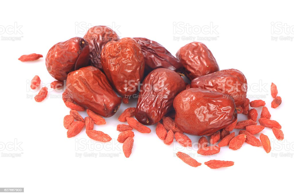 Traditional Chinese medicine: jujubes fruit and dry wolfberry fruit. stock photo