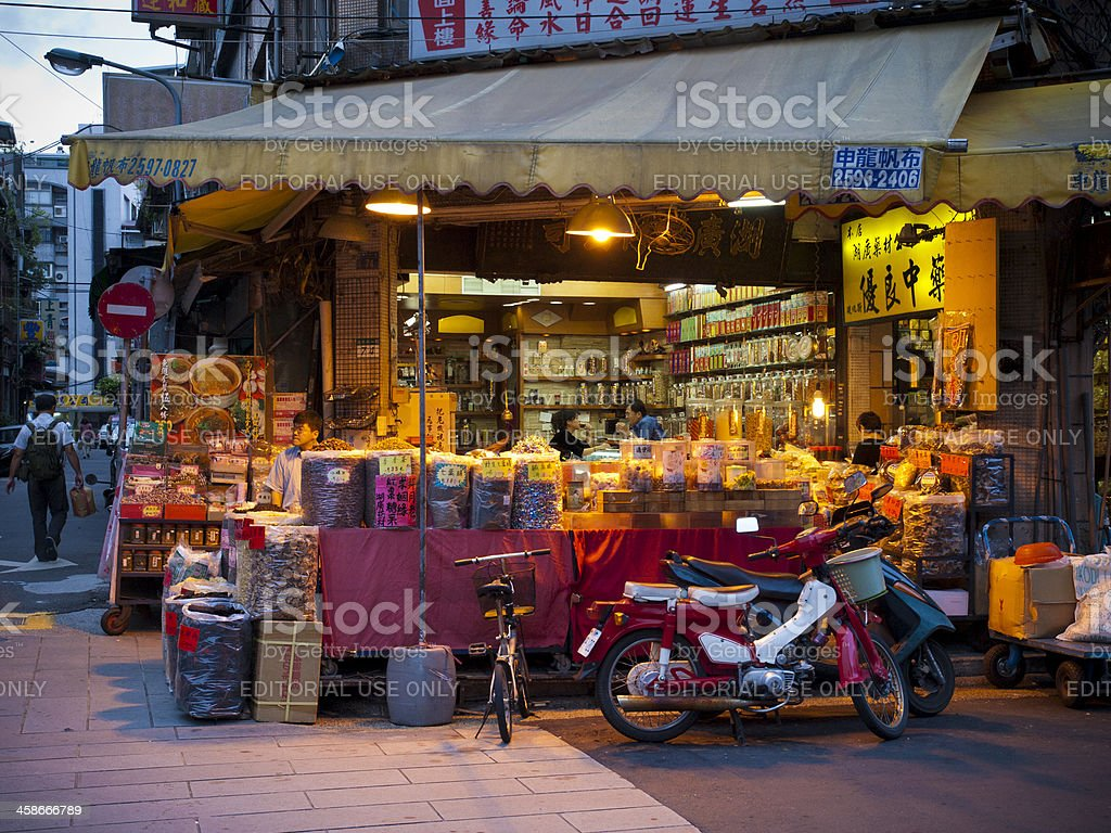 Traditional Chinese medicine shop in Taipei stock photo