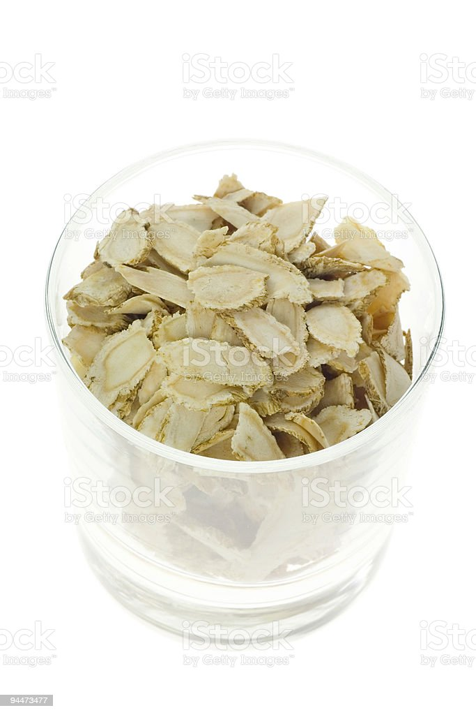 Traditional Chinese Medicine - Sliced ginseng royalty-free stock photo