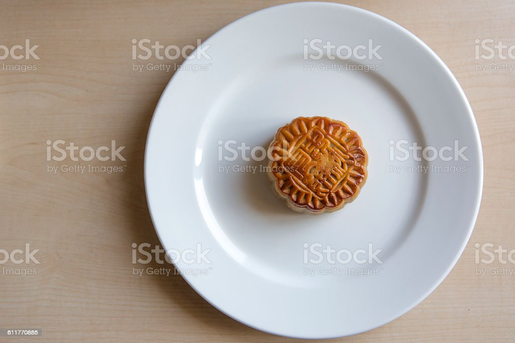 Traditional chinese mooncake in plate at istanbul turkey stock photo