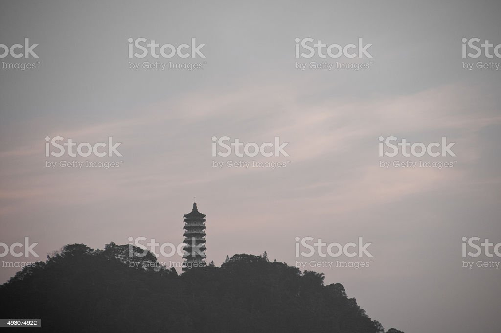 Traditional Chinese Pagoda on mountain Sun Moon Lake Taiwan stock photo