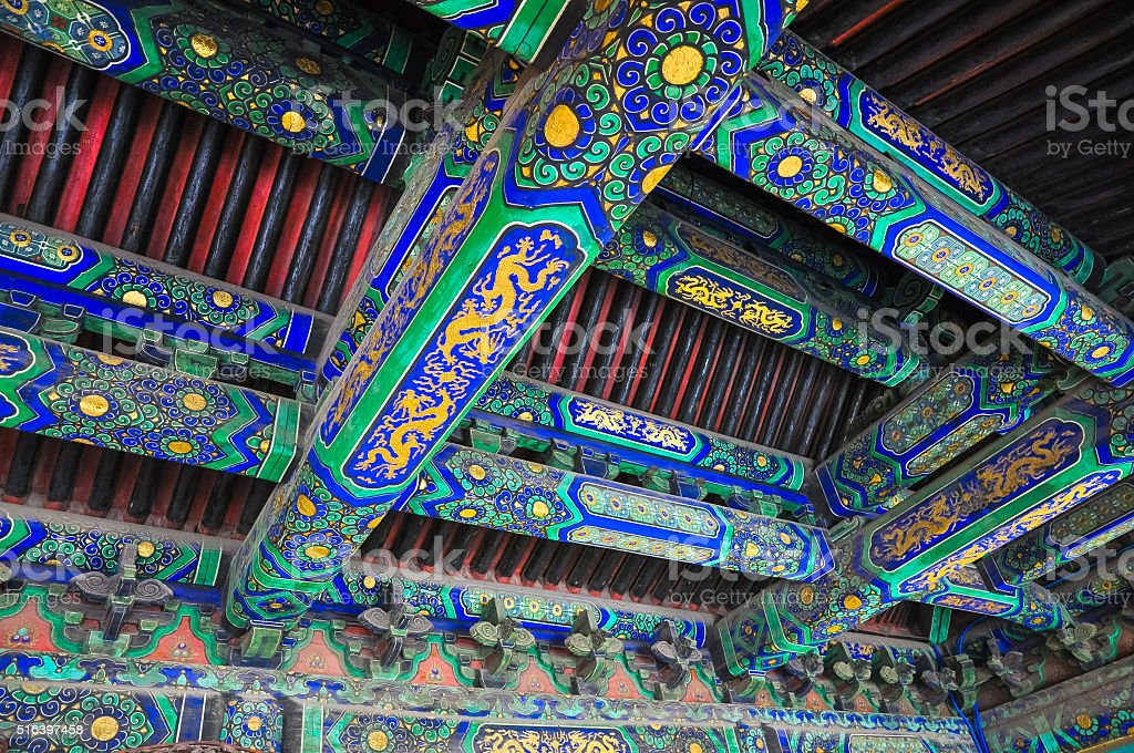 Traditional Chinese pattern on the inner side of the roof stock photo