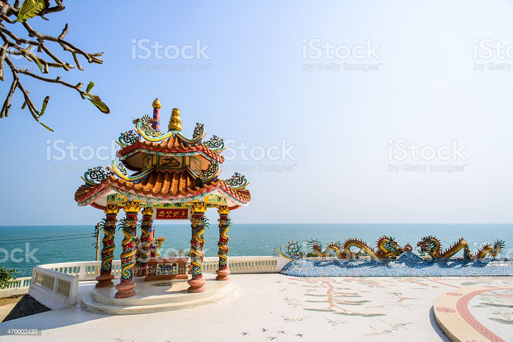 Traditional chinese  pavilion with sunny day, Hua Hin, Thailand stock photo