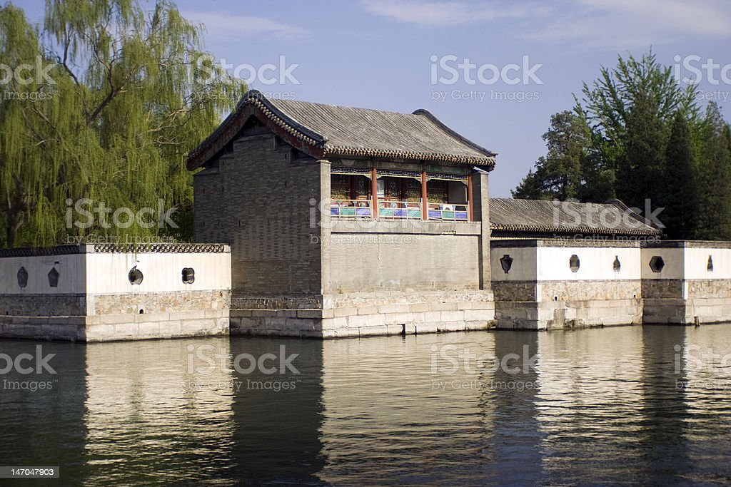 traditional Chinese pavilions on the rivershore stock photo
