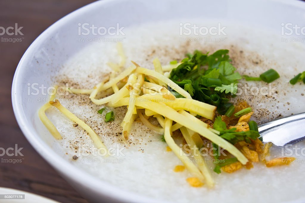 Traditional chinese porridge rice gruel stock photo