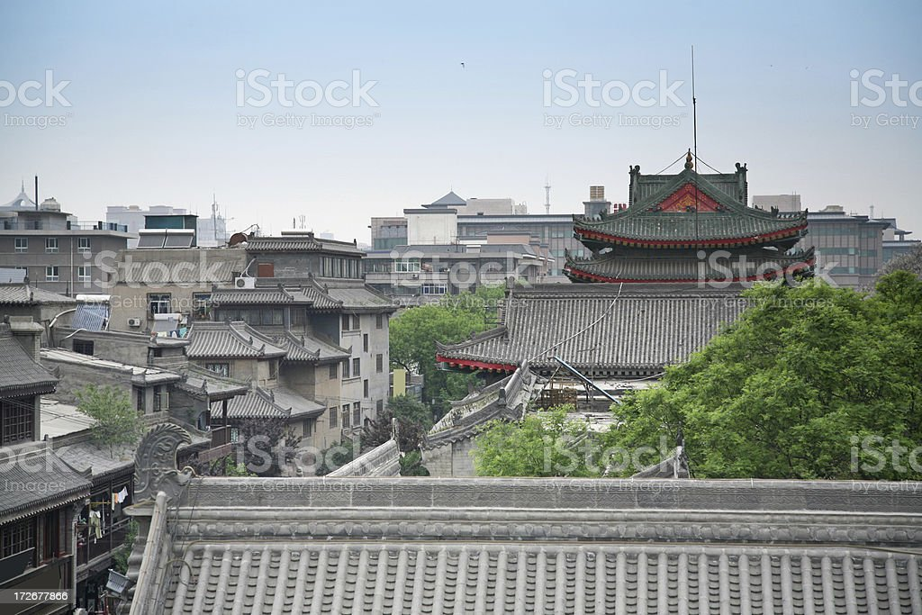 Traditional Chinese Rooftops In Cityscape royalty-free stock photo