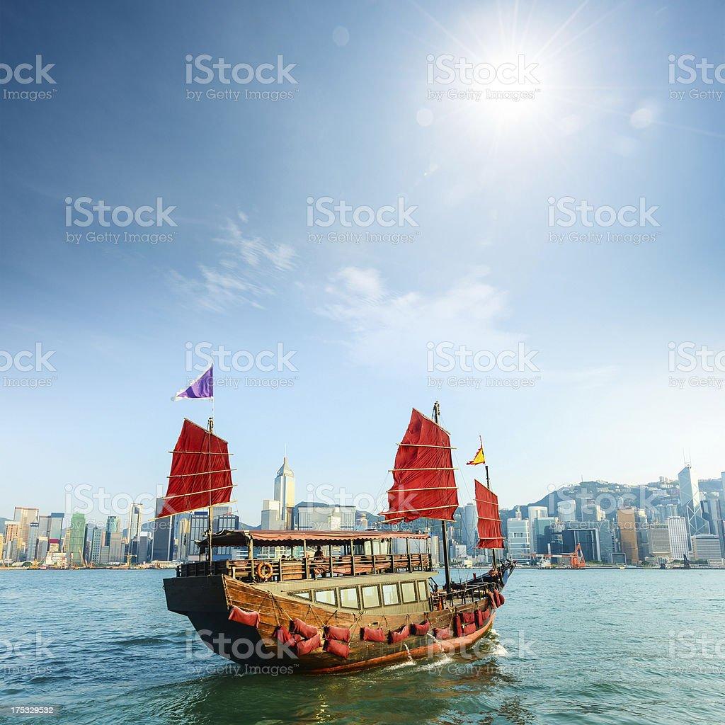 Traditional Chinese Sailing boat in Hong Kong stock photo
