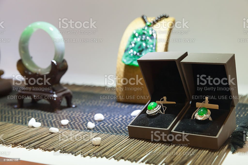 Traditional Chinese stone amulets and earrings stock photo