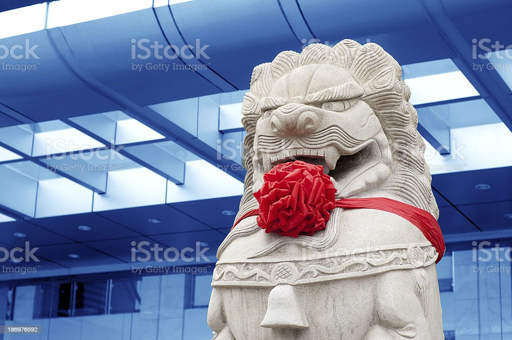 Traditional Chinese stone lion royalty-free stock photo