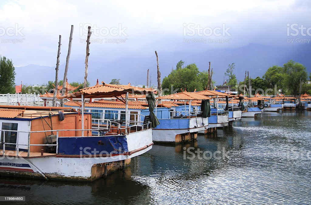 Traditional chinese style boat at the port royalty-free stock photo