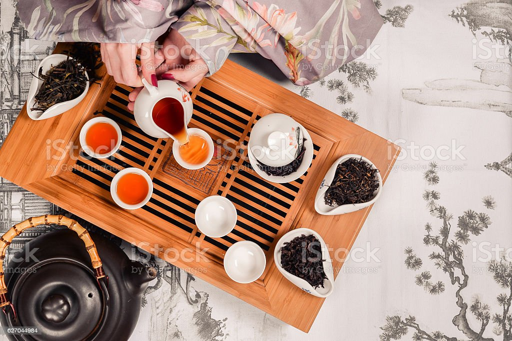 Traditional chinese tea ceremony accessories pair stock photo