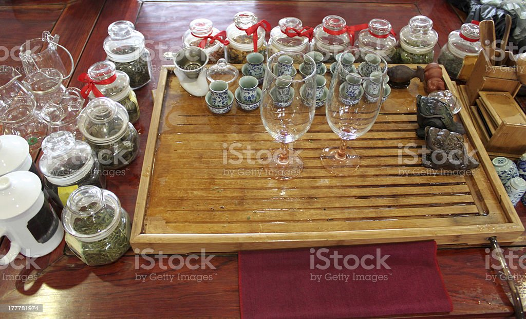 traditional chinese tea serving ceremonial preparation royalty-free stock photo