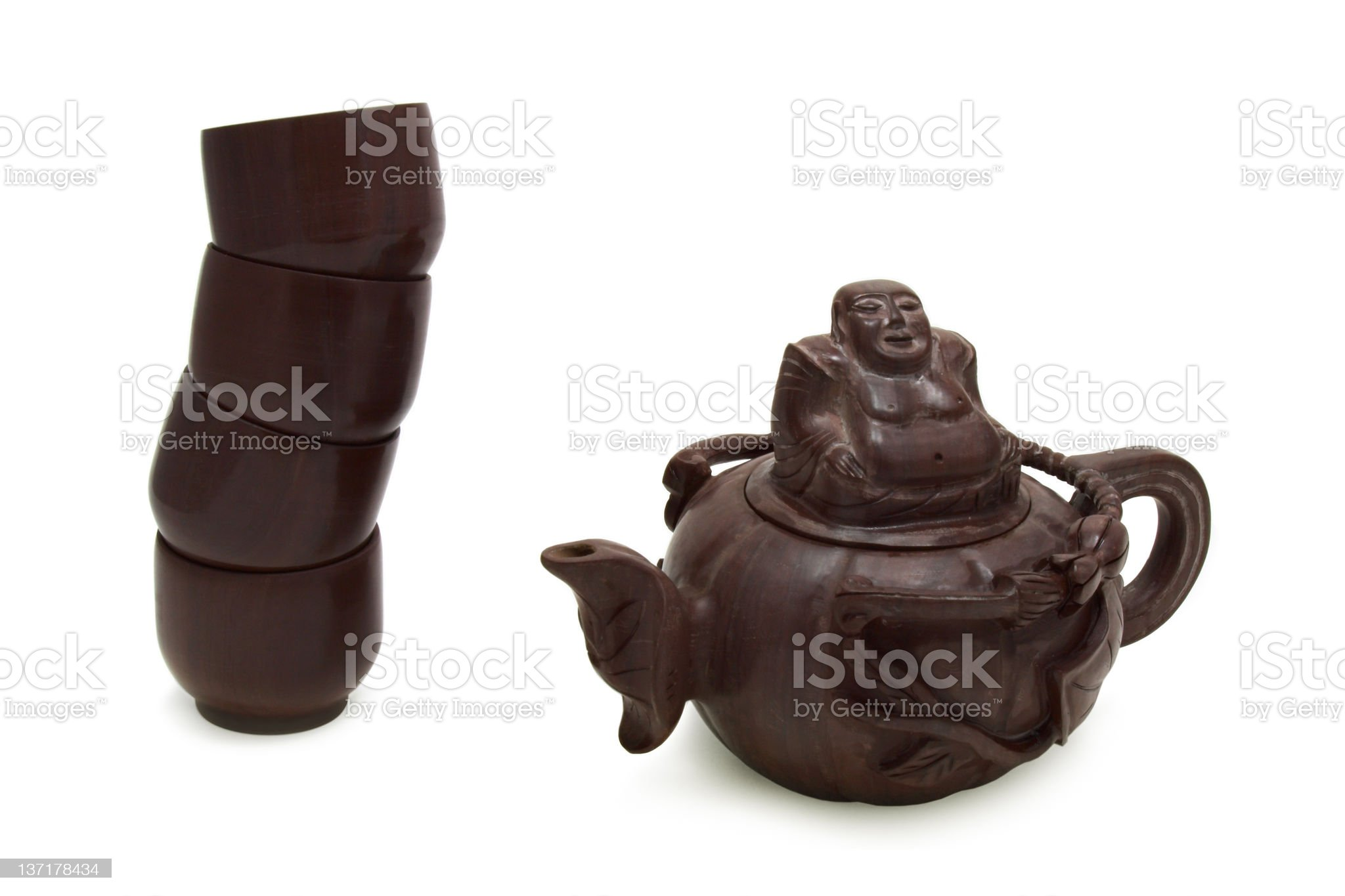 Traditional Chinese Teapot for Green Tea (isolated on white) royalty-free stock photo