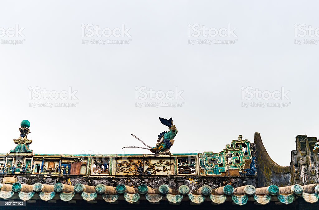 Traditional Chinese Temple Architecture Roof with Chiwen(fish dragon) stock photo