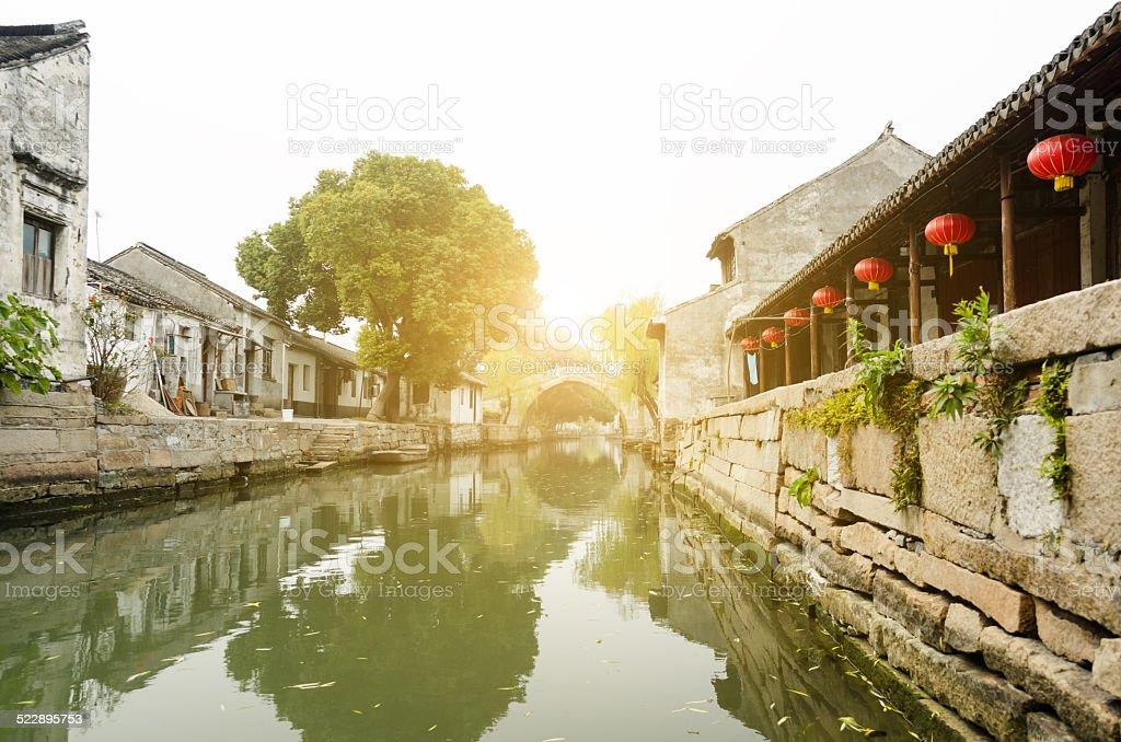 traditional chinese town in Jiangsu stock photo