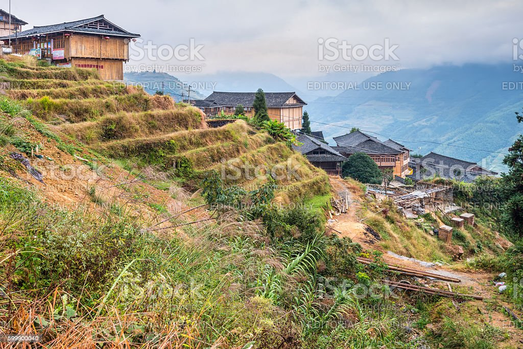 Traditional chinese village wooden houses stock photo