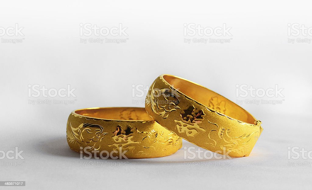 Traditional chinese wedding bangles stock photo