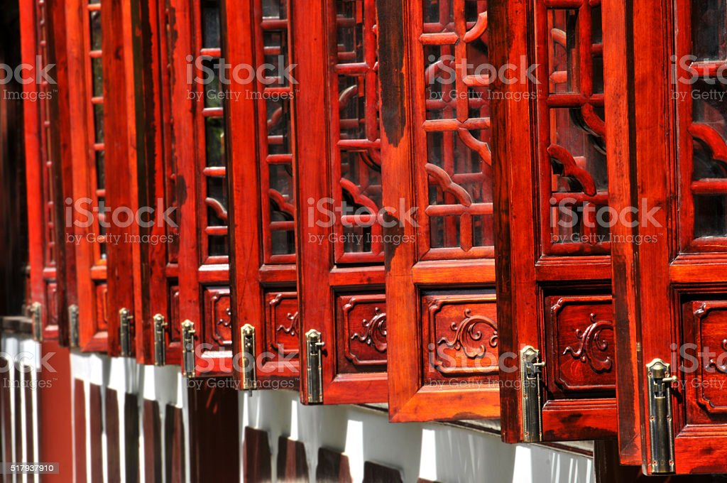 Traditional Chinese wooden windows stock photo