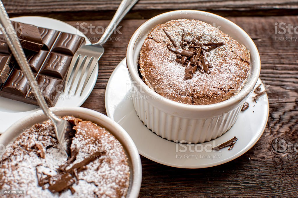 Traditional chocolate souffle stock photo