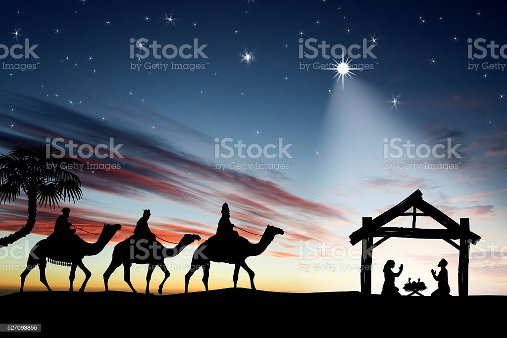 Traditional Christian Christmas Nativity scene with the three wi stock photo