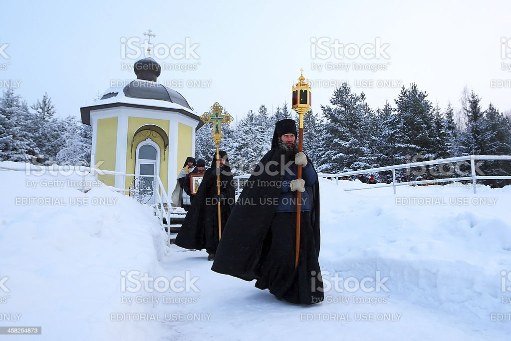 Traditional Christian church service on the Epiphany stock photo