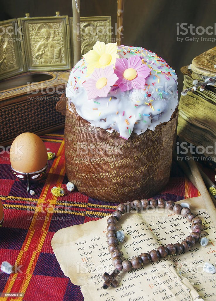 Traditional christian easter still life royalty-free stock photo