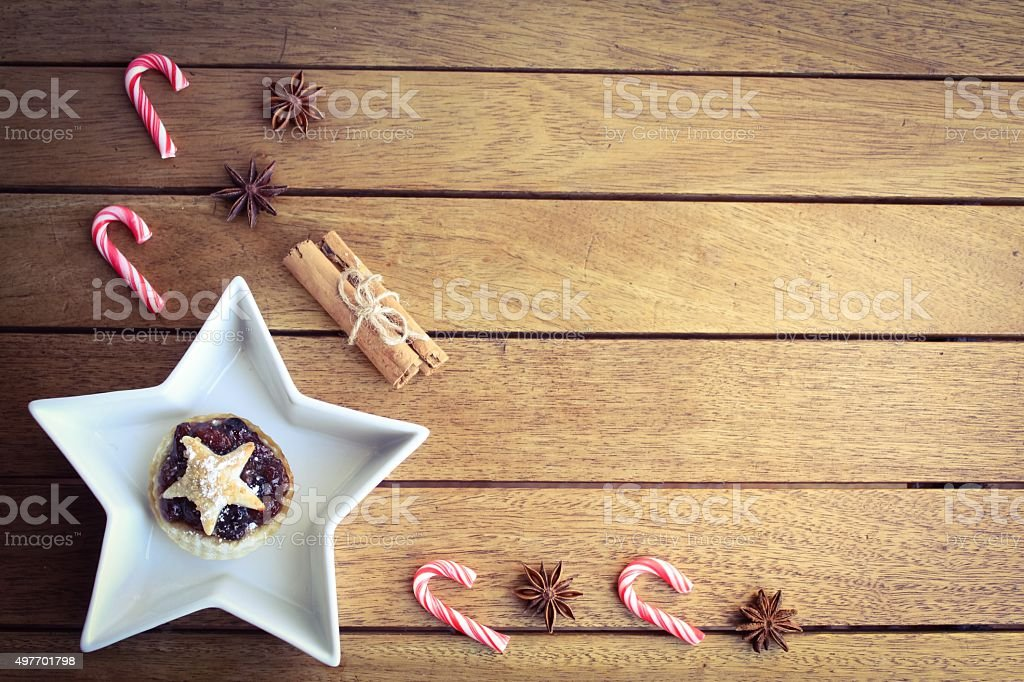 Traditional Christmas and mince pie background stock photo