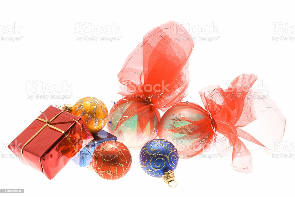 Traditional Christmas balls and boxes, isolated over white royalty-free stock photo