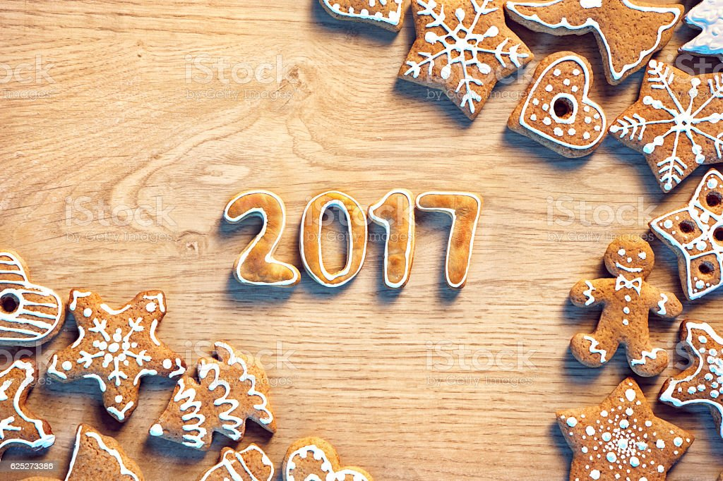 Traditional Christmas cookies on wooden table. stock photo