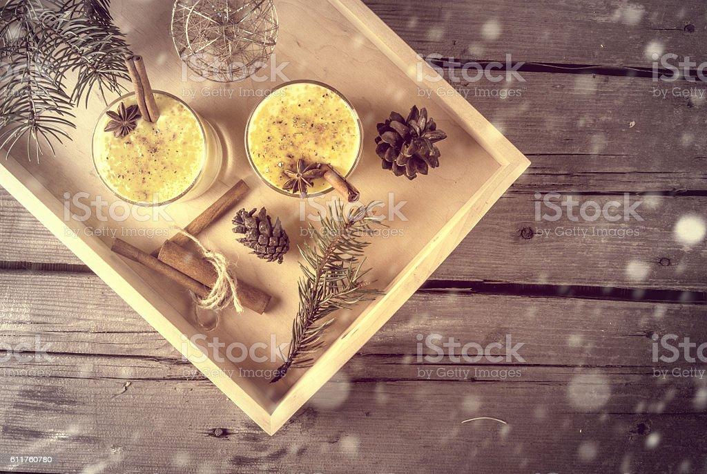 Traditional Christmas drink eggnog and cookies stock photo