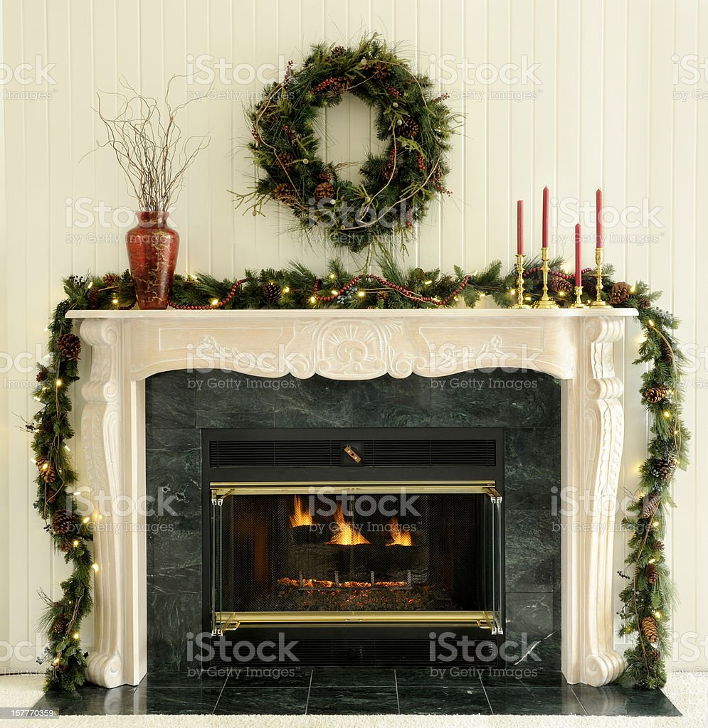 Traditional Christmas Fireplace stock photo