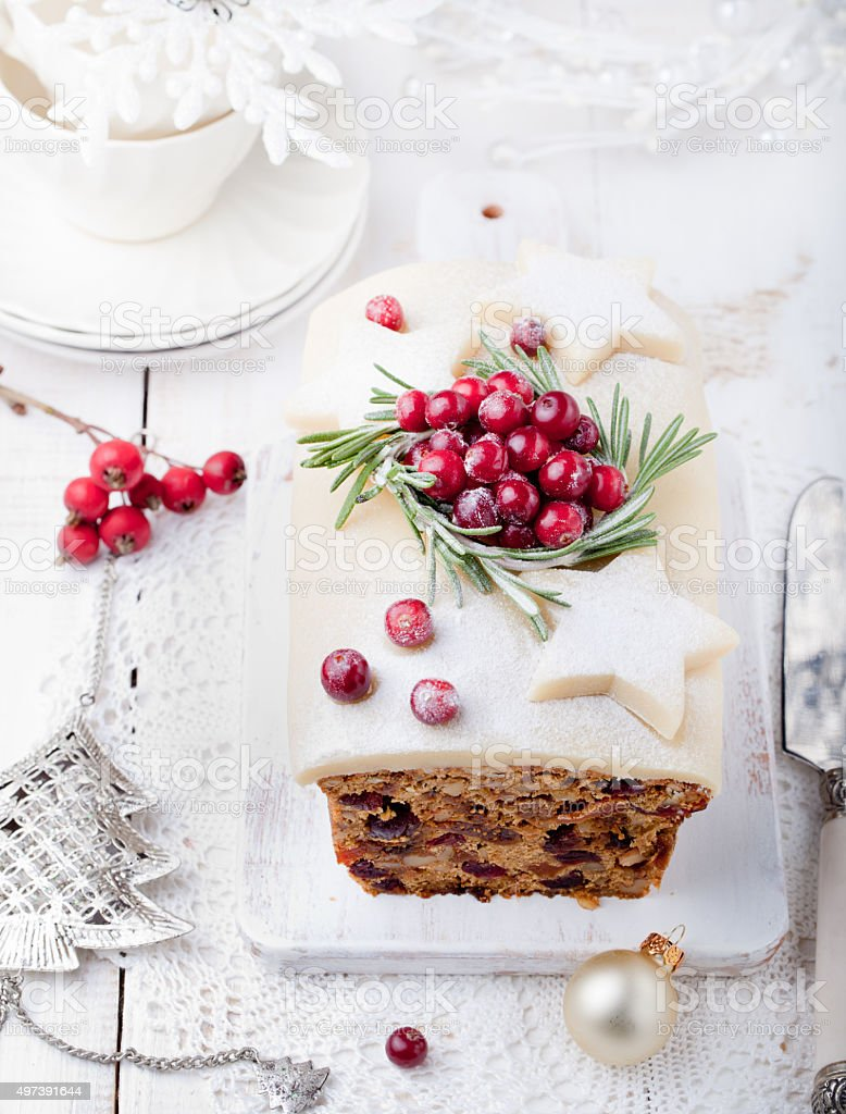 Traditional Christmas Fruit Cake pudding stock photo
