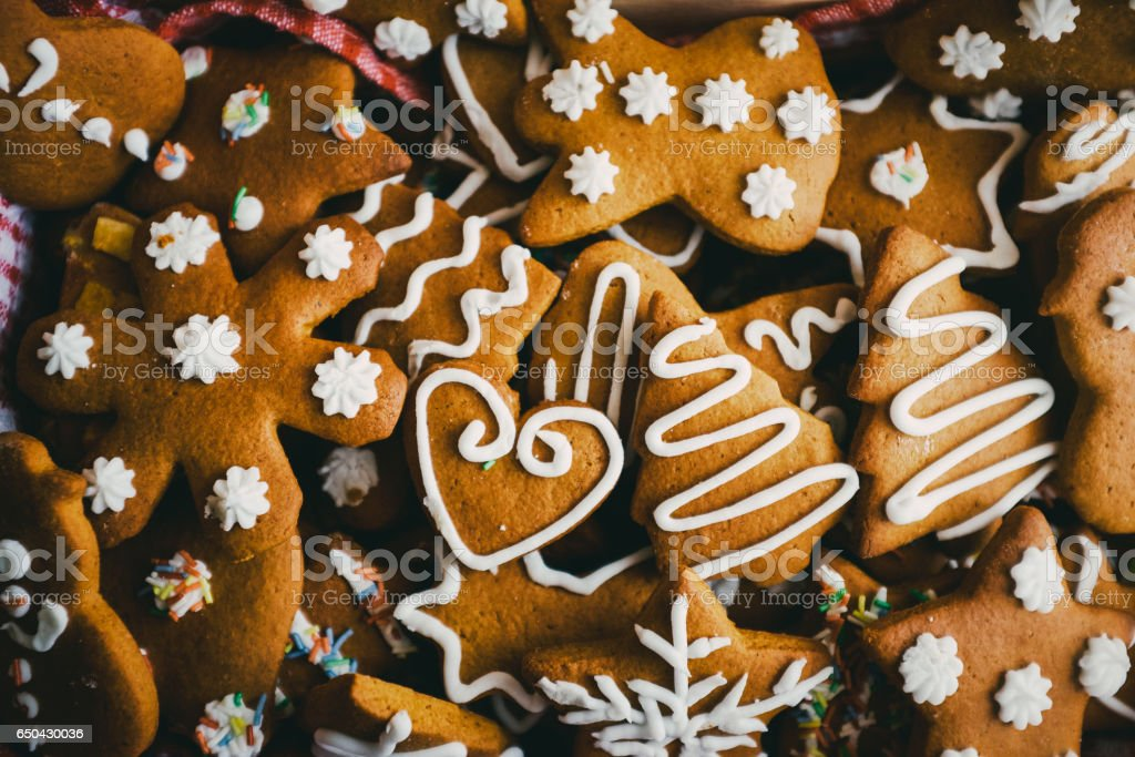Traditional christmas gingerbread cookies stock photo