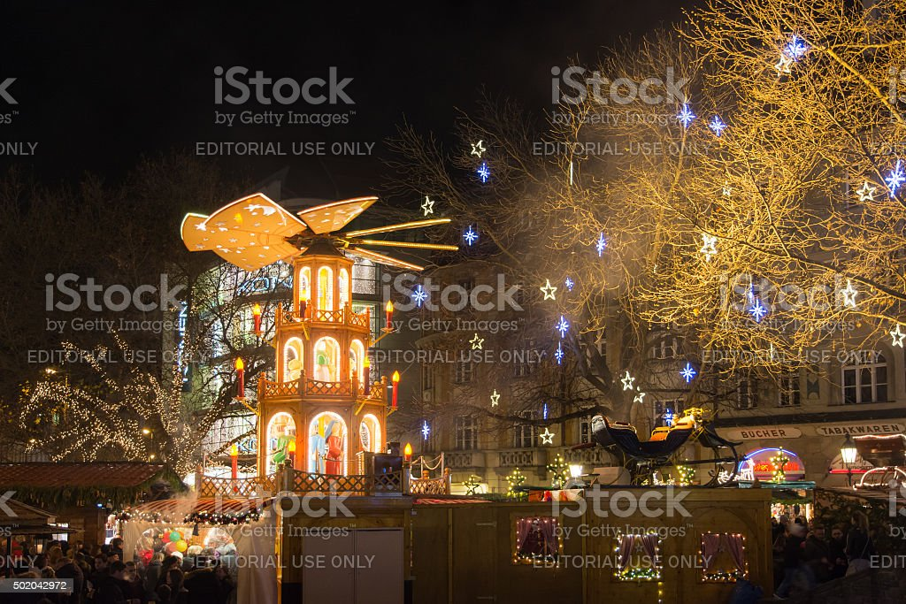 Traditional christmas market at night stock photo
