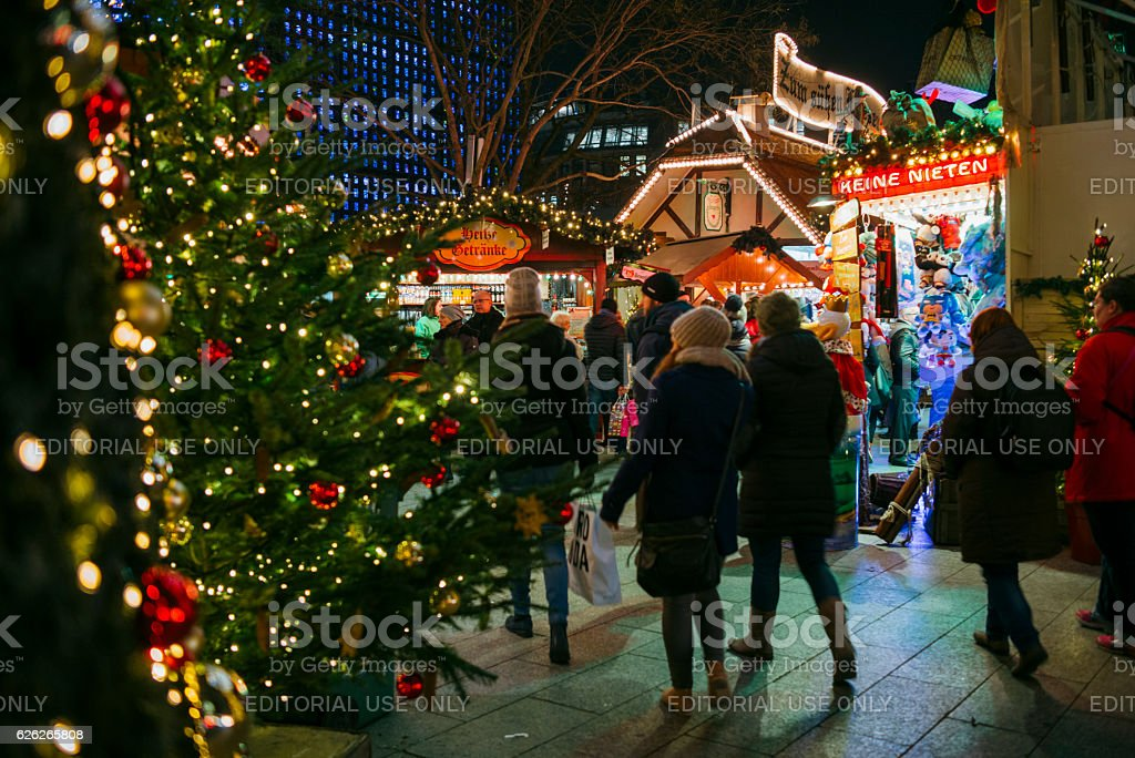 Traditional christmas market at the Kaiser Wilhelm Memorial Church, Berlin stock photo