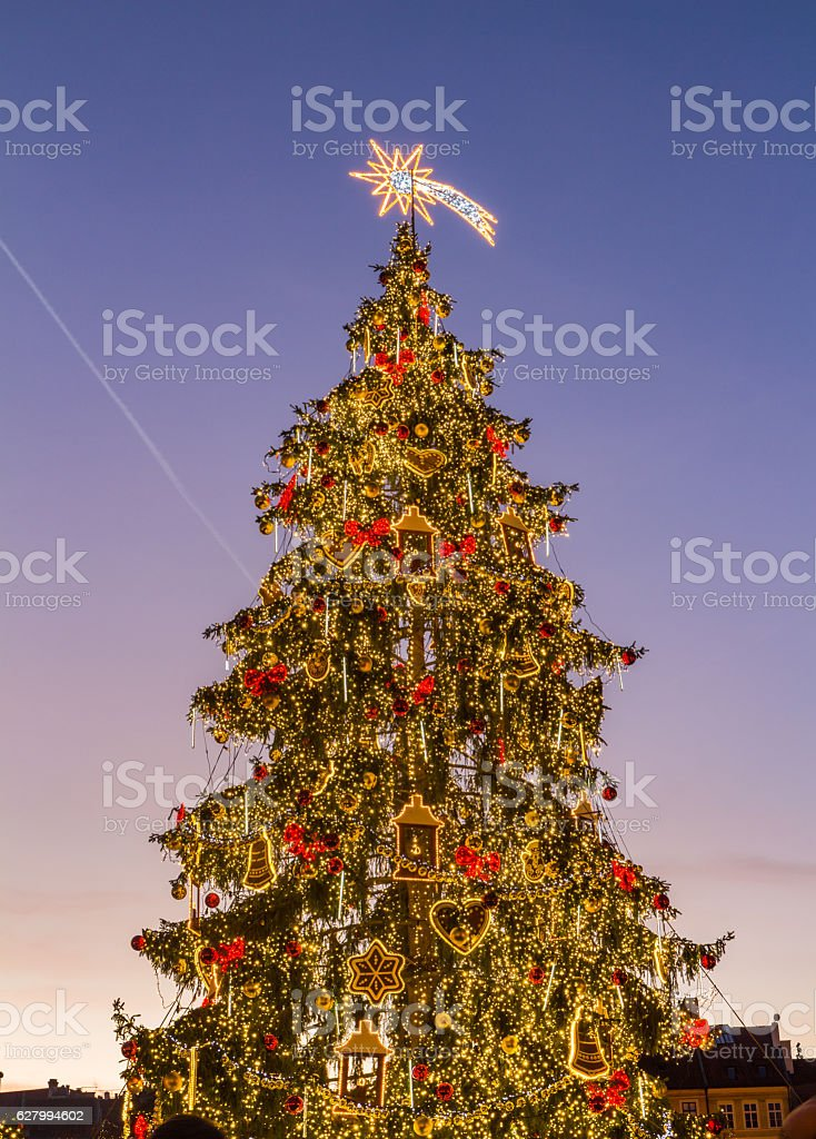 Traditional christmas market in the historic center of Prague stock photo