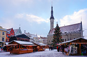 Traditional Christmas market on the main square of Tallinn