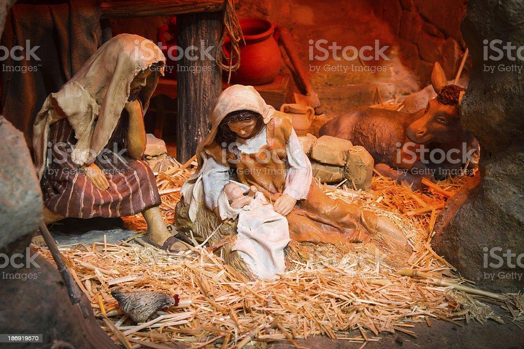 Traditional Christmas nativity scene stock photo