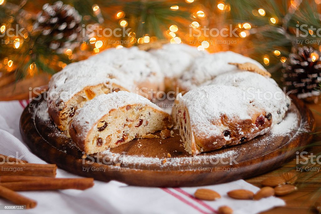 Traditional Christmas Stollen stock photo