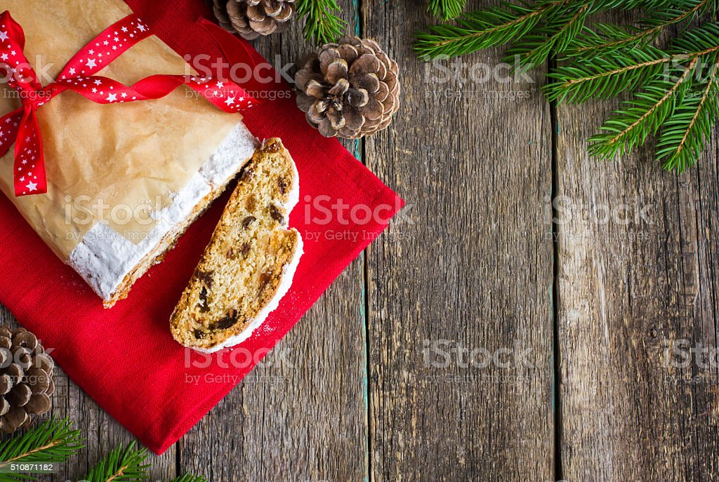 Traditional Christmas Stollen. top view stock photo