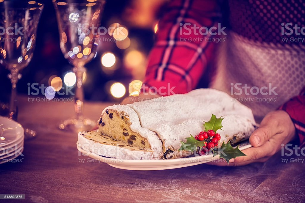Traditional Christmas Stollen with Powdered Sugar stock photo