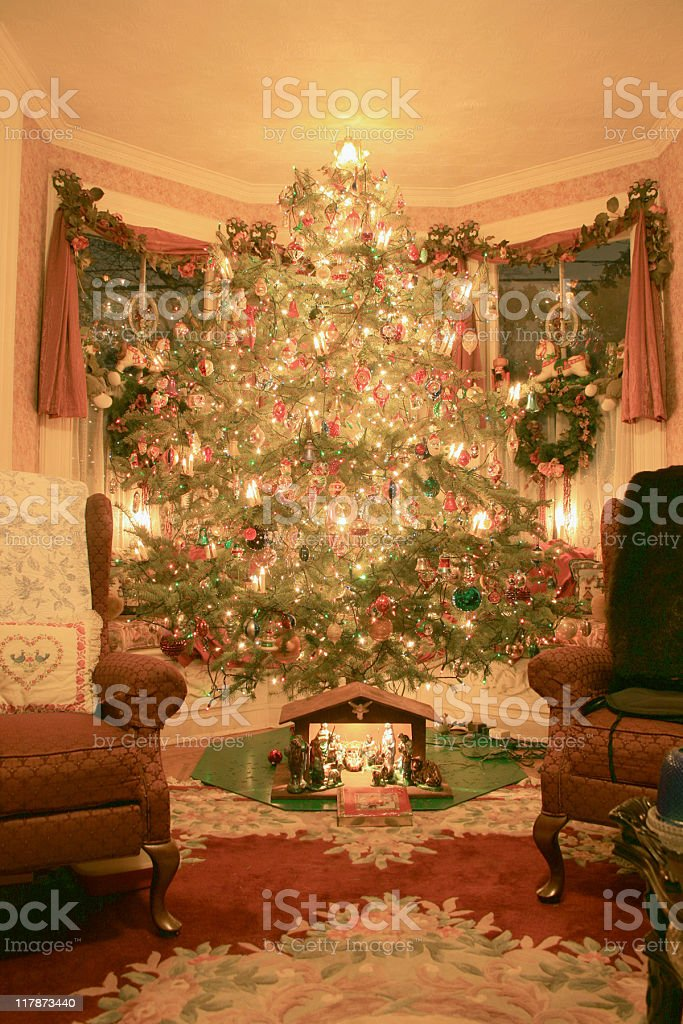 Traditional Christmas Tree in Family Room stock photo