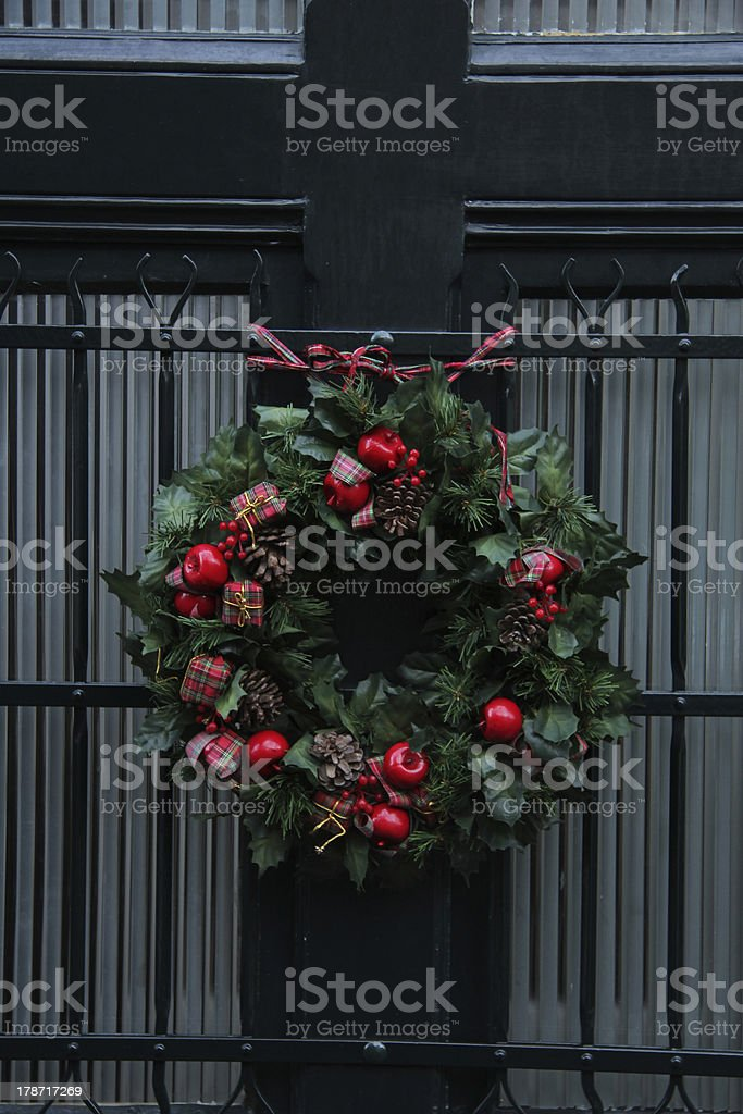 Traditional Christmas wreath on a door royalty-free stock photo