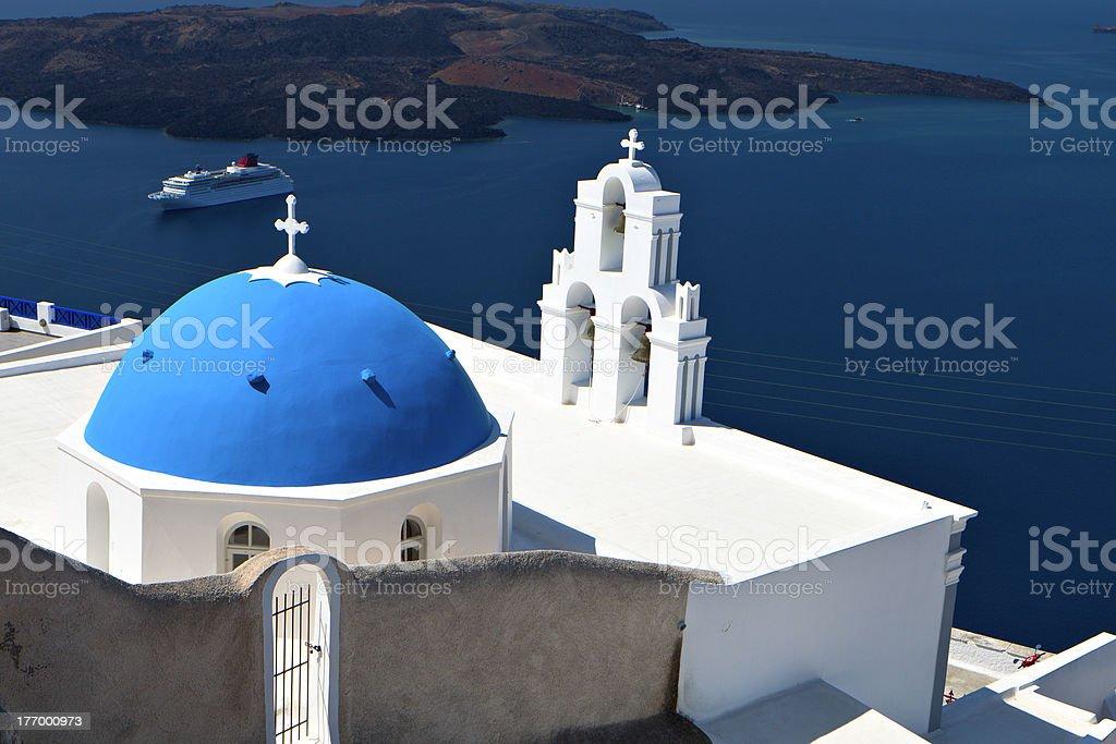 Traditional church at Santorini, Greece stock photo