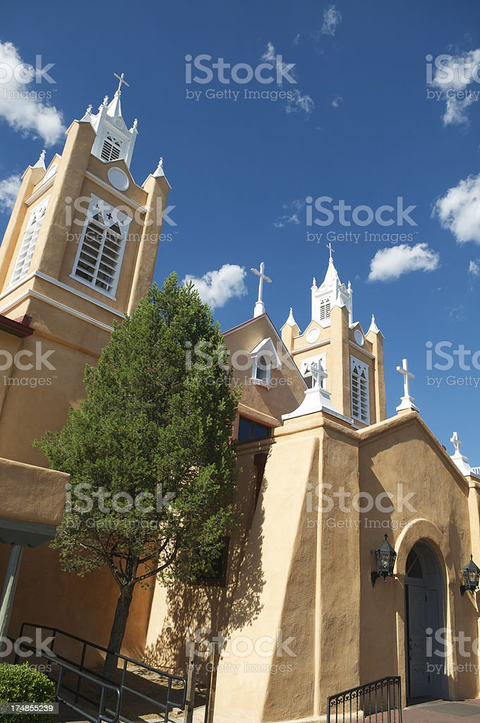 Traditional Church Spires Peach Stucco Blue Sky royalty-free stock photo