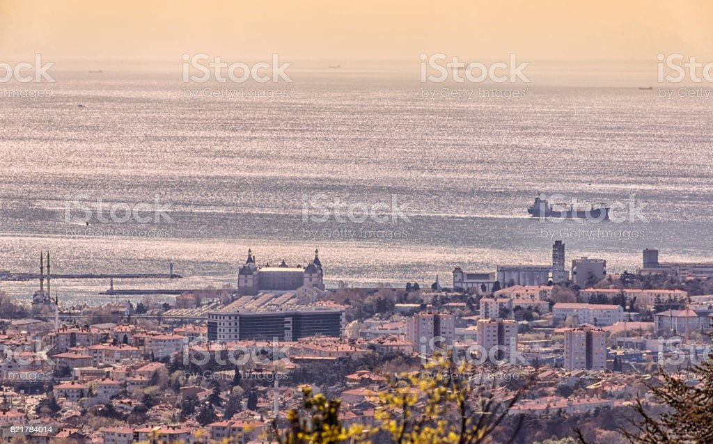 Traditional cityview at anatolian side of Istanbul at marmara seaside in  Turkey stock photo