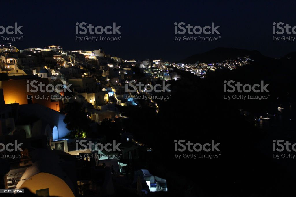 Traditional Classic Santorini Architecture in Oia village, Greece stock photo