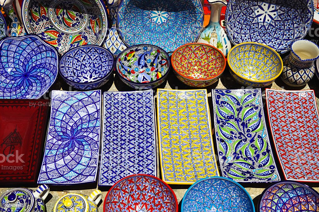 Traditional clay goods in shop at the medina of Tunis stock photo