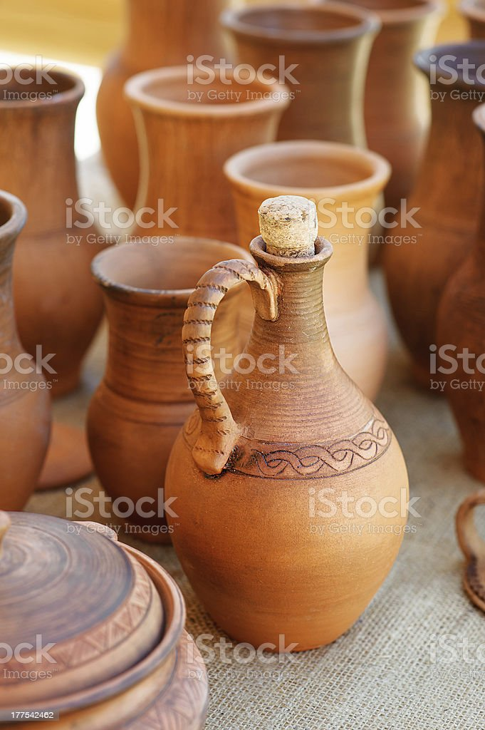 traditional clay pots of manual work stock photo